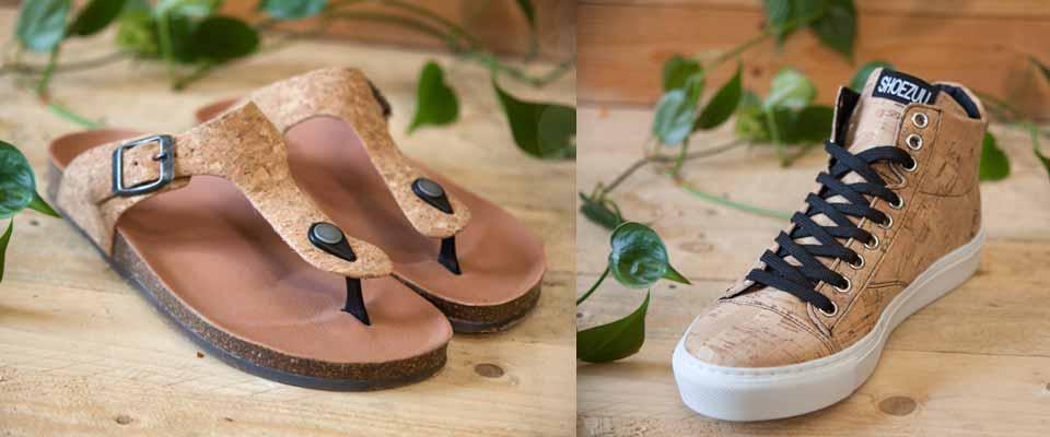 Vegane Cork Sneaker und Toe Post Sandalen