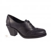 Wills London Heeled Brogues Black