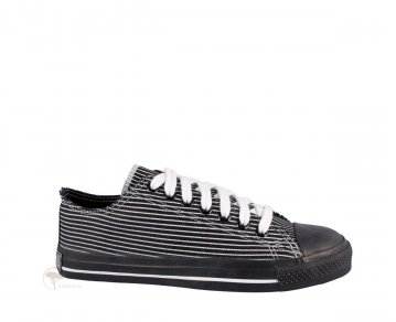 Ethletic Sneaker Low Cut Pinstripes / Jet Black