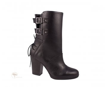 Wills London Heeled Buckle Boots Black