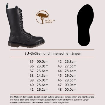 Shoezuu 14 Eye Zip UK Boot Black