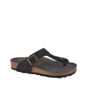Vegetarian Shoes Toe Post Sandal Black
