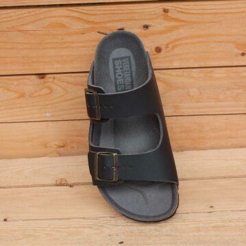 Vegetarian Shoes Two Strap Sandal Black 44