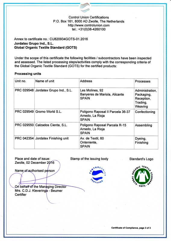 GOTS Zertifikat Natural World Eco
