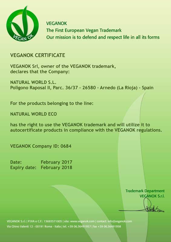 VEGANOK Zertifikat Natural World Eco